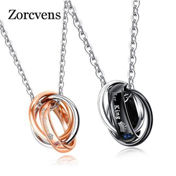 Cool ZORCVENS New Fashion Letter Her King His Queen Hole Pendant Necklace Couple Charm Link Chain Necklace For WomenAT_93_12