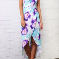 Floral Halter Neck Asymmetrical Maxi Dress