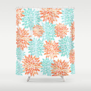 aqua and coral flowers Shower Curtain by Sylvia Cook Photography