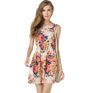 Floral  sleeveless chiffon summer dress
