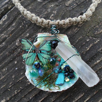 Necklace-Mermaid Jewelry-Fairy Jewelry-Quartz Crystal-Mermaid Treasure Trove Necklace-Seashell Necklace-Butterfly Jewelry-OOAK-Teal-#309