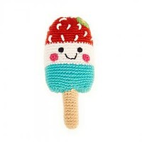 Red White & Blue Popsicle -  Fair Trade Knitted Baby Rattle