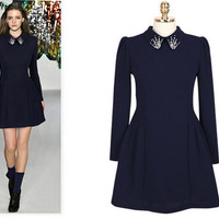 Crystal Accent Collar Long Sleeves Dark Blue Shirt Dress