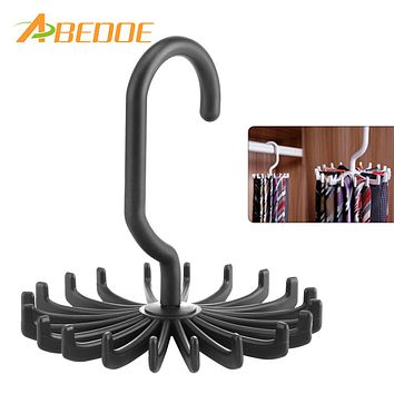 ABEDOE 1pcs Plastic Portable Tie Rack For Closets Rotating Ties Hook Holder Belt Scarves Hanger For Men Women Clothing Organizer