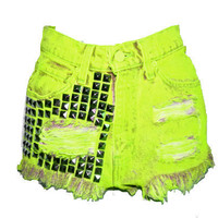 High Waisted  Neon Green Studded Jeans Shorts