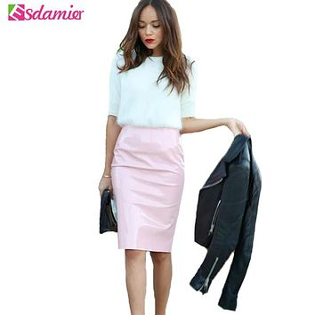 New Vintage High Waisted Faux Leather Skirt Candy Colors Sexy Pencil Skirt Faldas Tube Wrap Bodycon PU Women Skirts Saias