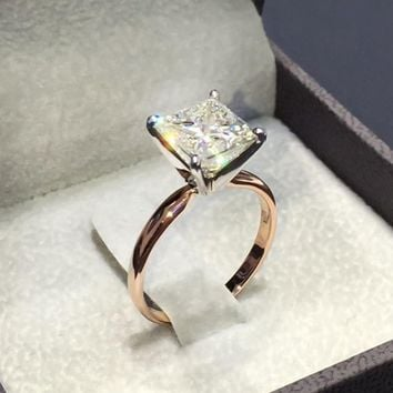 1 Pcs New Gold Color Square Shape Ring Princess Cut Stamp For Women Pave Zircon Stone Wedding Jewelry Inlaid Rings