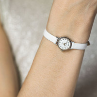 Petite white watch, women's watch Seagull white silver, very small watch round, lady's watch micro, premium leather strap new