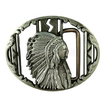 Vintage Silver Indian Belt Buckle Native American Western Cowboy Buckle