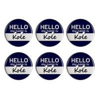 Kole Hello My Name Is Plastic Resin Button Set of 6