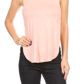 Sexy Solid Turtleneck Side Cutout Split & Keyhole Back Stretchy Crop Top