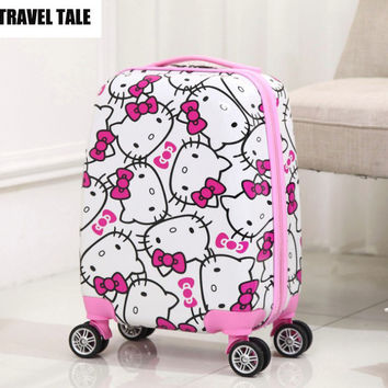 "TRAVEL TALE 16""18 inch hello kitty kids trolley luggage child suitcase on wheels"