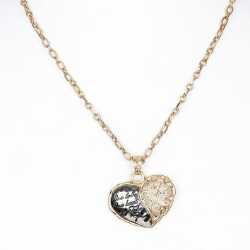 One Heart Two Tone Filigree Necklace