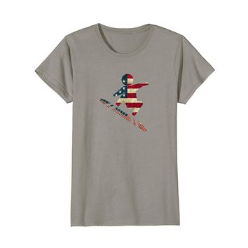 Vintage USA Snowboarding American Flag T-Shirt Classic
