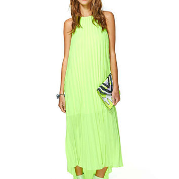 Lemon Green Halter Sleeveless Pleated Maxi Dress