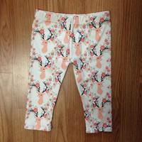 Organic Knit Floral Deer Toddler Leggings from Sew Itty Bitty Designs