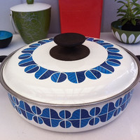 Vintage enamel Noritake pan with abstract blue designs!! ReTrO KiTcHeN!