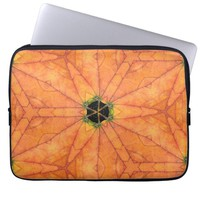 Holes In Autumn Leaves Abstract Geometric Pattern Computer Sleeve