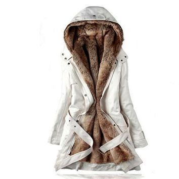 MQUEENFOX New Thick Faux fur lining women's fur Hoodies winter warm long fur inside coat jacket cotton clothes thermal parkas