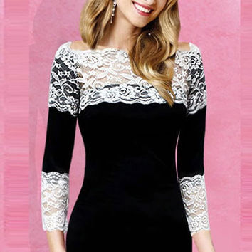 Black Long Sleeve Scallop Floral Lace Bodycon Dress