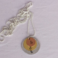 CUSTOM mothers necklace w/3 circle discs, mothers day gift, children's names, hand stamped, gift for mom