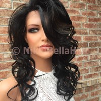 """Sky Whole Full Lace Handtied Human Hair Blend Lace Wig 16"""" Dark Brown Auburn"""
