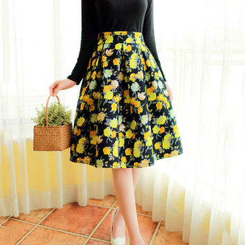 Yellow Floral A-Line Midi Skater Skirt