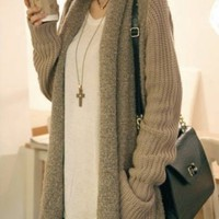 Khaki Long Sleeve Pockets Loose Cardigan Sweater - Sheinside.com