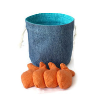 Bucket Bag Denim & Aqua with Goldfish Shaped Bean Bags Orange Flannel Upcycled Blue Jeans - US Shipping Included