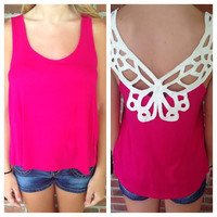 Crochet Accent Open Back Solid Top