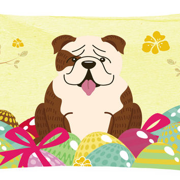 Easter Eggs English Bulldog Brindle White Canvas Fabric Decorative Pillow BB6121PW1216