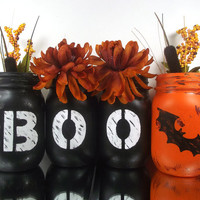 Halloween Decoration, Set of 4, Hand Painted Mason Jars - Rustic Style, Painted Mason Jars
