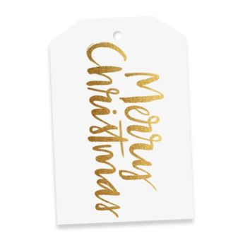 Elm Paper | Merry Christmas Gold Gift Tag