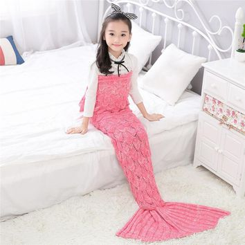 Children Yarn Knitted Bed Sofa Mermaid Tail Blanket
