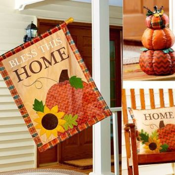 Bless This Home Harvest Porch Accents Choose Flag Or Pillow Or Stacked Pumpkins
