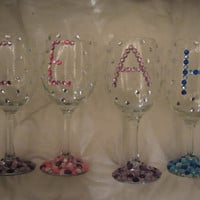 Customizable Rhinestone Sprinkle Wine Glass