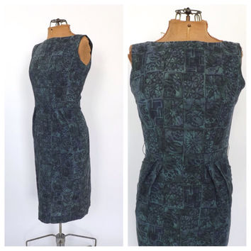 Vintage 1960s Batik Mod Mini Dress Green Blue Ethnic Print Sundress Sleeveless Tank Shift  Dress Size Small Wiggle Dress Jo White 50s Dress