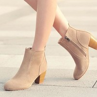 New Women Nude Round Toe Chunky Ankle Boots