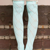 Pastel Blue Thigh High Boot Socks With Lace Trim