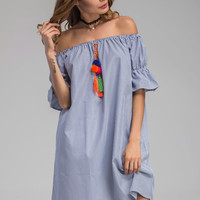 Blue Striped Bell Cuff Off Shoulder With Pom Pom Tassel Dress