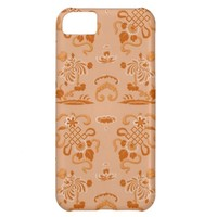 Orange Flowers and Shapes Cover For iPhone 5C