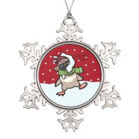 Scarf Penguin Hit By Snowball Christmas Cartoon Snowflake Pewter Christmas Ornament