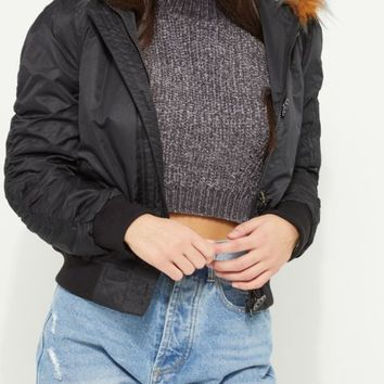 Black Multi-Colored Faux Fur Hooded Bomber Jacket