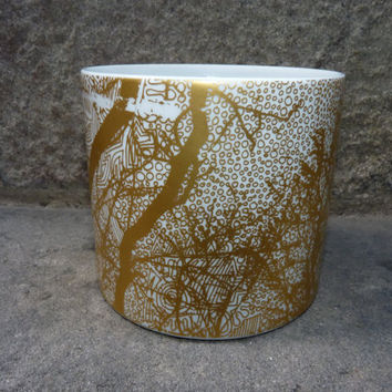 Modernist low German Golden Abstract Pattern Vase - Hutschenreuther, Hermann Schwahn 60s