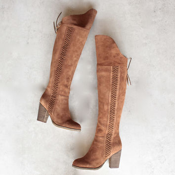 sbicca - gusto - tan over the knee suede leather boots