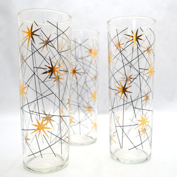Vintage Libbey Cocktail Glasses, Black and Gold Atomic Starburst Design, 1950s Barware, Collins 10 oz Glass