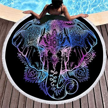 Bohemian Elephant Tassel Tapestry Round Beach Towels
