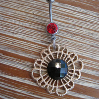 Belly Button Ring - Body Jewelry - Dangling Gold and Black Flower Charm with Red Gem Belly Button Ring