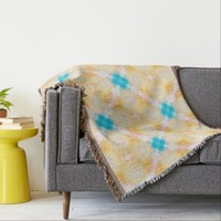 Bright Yellow and Blue Tile Pattern Blanket