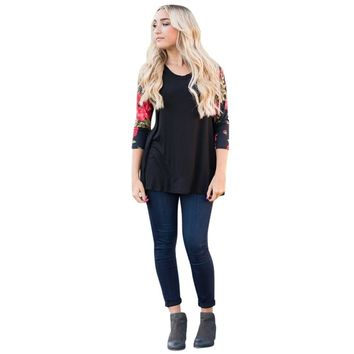 Fashion T Shirt Women Plus Size 5XL crop Tops lovely Floral Long Sleeve O-Neck Casual Print Tshirt Camisetas Mujer